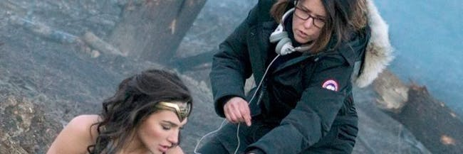 Director Patty Jenkins directing Gal Gadot in 'Wonder Woman' as Diana Prince, aka Wonder Woman.