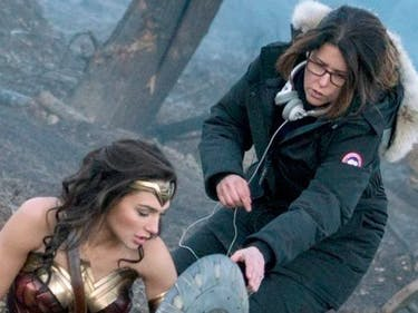 Director Patty Jenkins directing Gal Gadot in 'Wonder Woman' as Diana Prince, aka Wonder Woman.