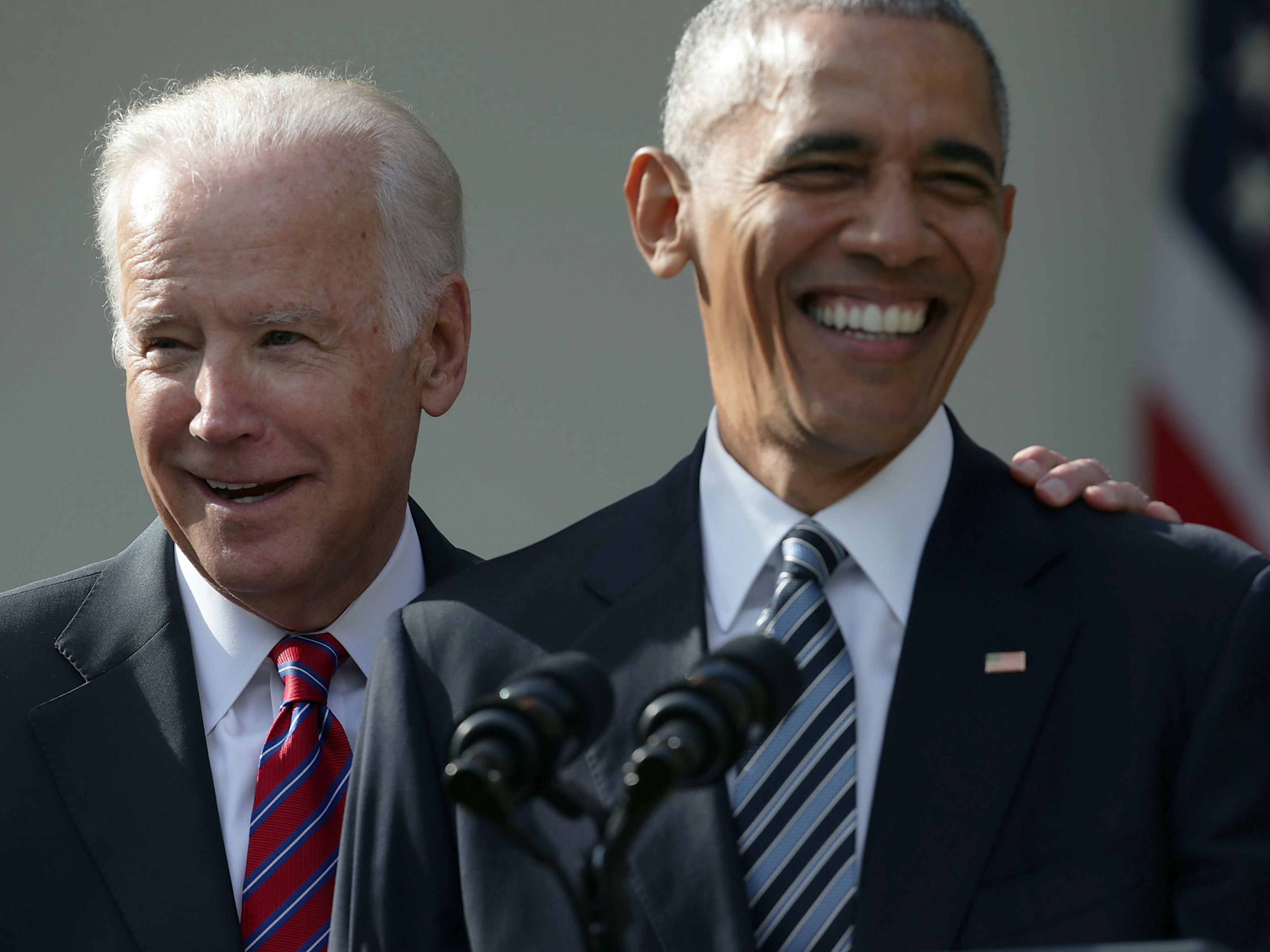 U.S. President Barack Obama and Vice President Joseph Biden share a moment during a statement about the election in the Rose Garden at the White House November 9, 2016 in Washington, DC. Republican presidential nominee Donald Trump has won the election and will become the 45th president of the United States.