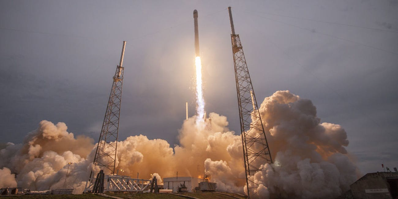 The SpaceX Falcon 9 launches.