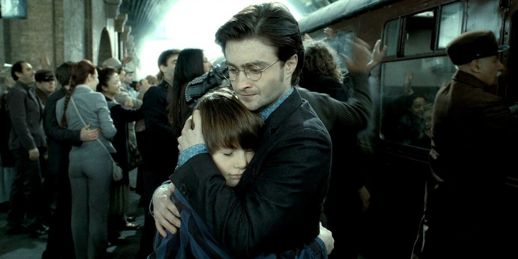 Harry Potter and Albus Potter in the final scene of the film version of 'Harry Potter and the Deathly Hallows'