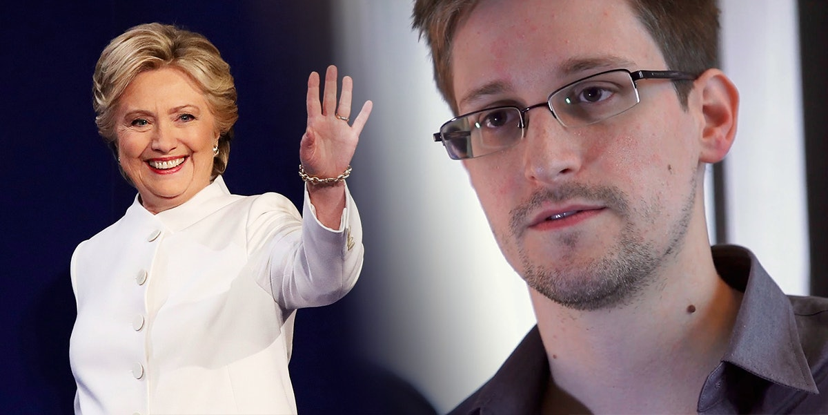 """Edward Snowden's says an """"old laptop"""" could've checked Hillary Clinton's 650,000 emails that fast."""