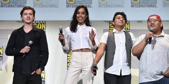 """SAN DIEGO, CA - JULY 23:  Actors Tom Holland, Laura Harrier, Tony Revolori, and Jacob Batalon from Marvel Studios' 'Spider-Man: Homecoming"""" attend the San Diego Comic-Con International 2016 Marvel Panel in Hall H on July 23, 2016 in San Diego, California. ©Marvel Studios 2016. ©2016 CTMG. All Rights Reserved.  (Photo by Alberto E. Rodriguez/Getty Images for Disney)"""