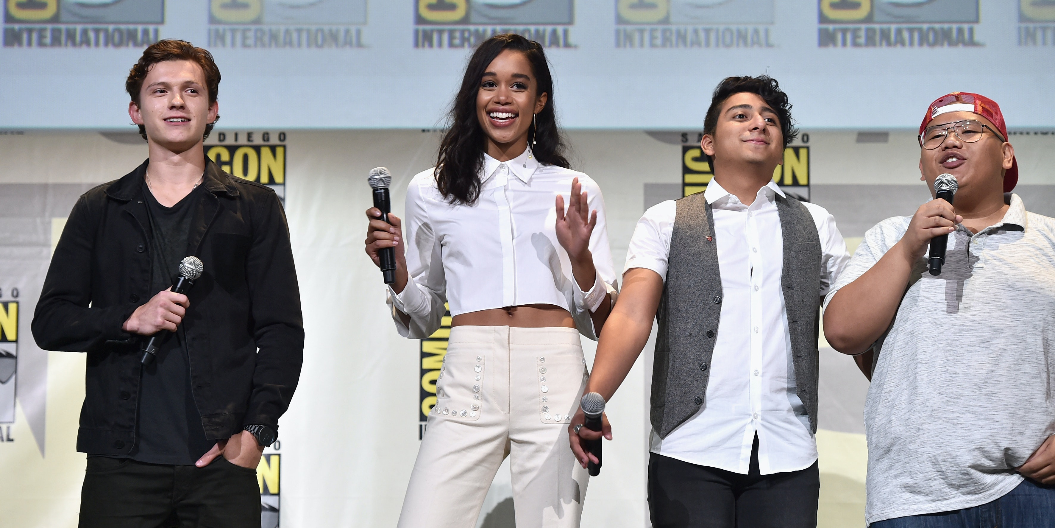 "SAN DIEGO, CA - JULY 23:  Actors Tom Holland, Laura Harrier, Tony Revolori, and Jacob Batalon from Marvel Studios' 'Spider-Man: Homecoming"" attend the San Diego Comic-Con International 2016 Marvel Panel in Hall H on July 23, 2016 in San Diego, California. ©Marvel Studios 2016. ©2016 CTMG. All Rights Reserved.  (Photo by Alberto E. Rodriguez/Getty Images for Disney)"