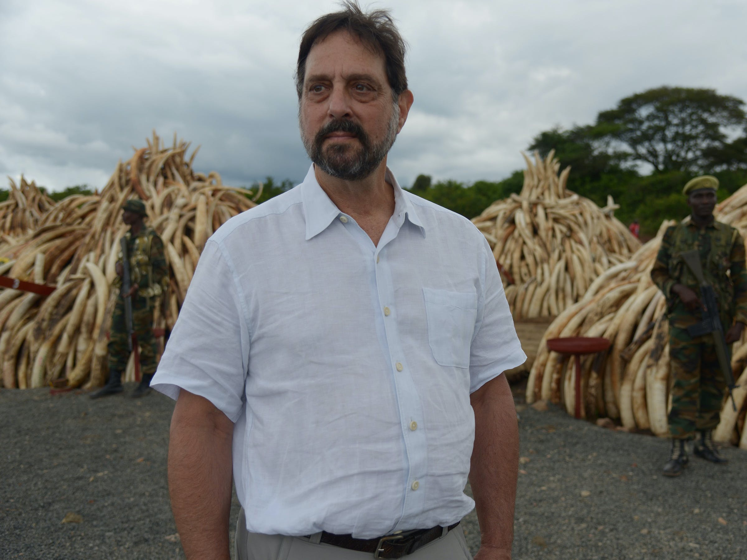 illegal ivory about to be set on fire