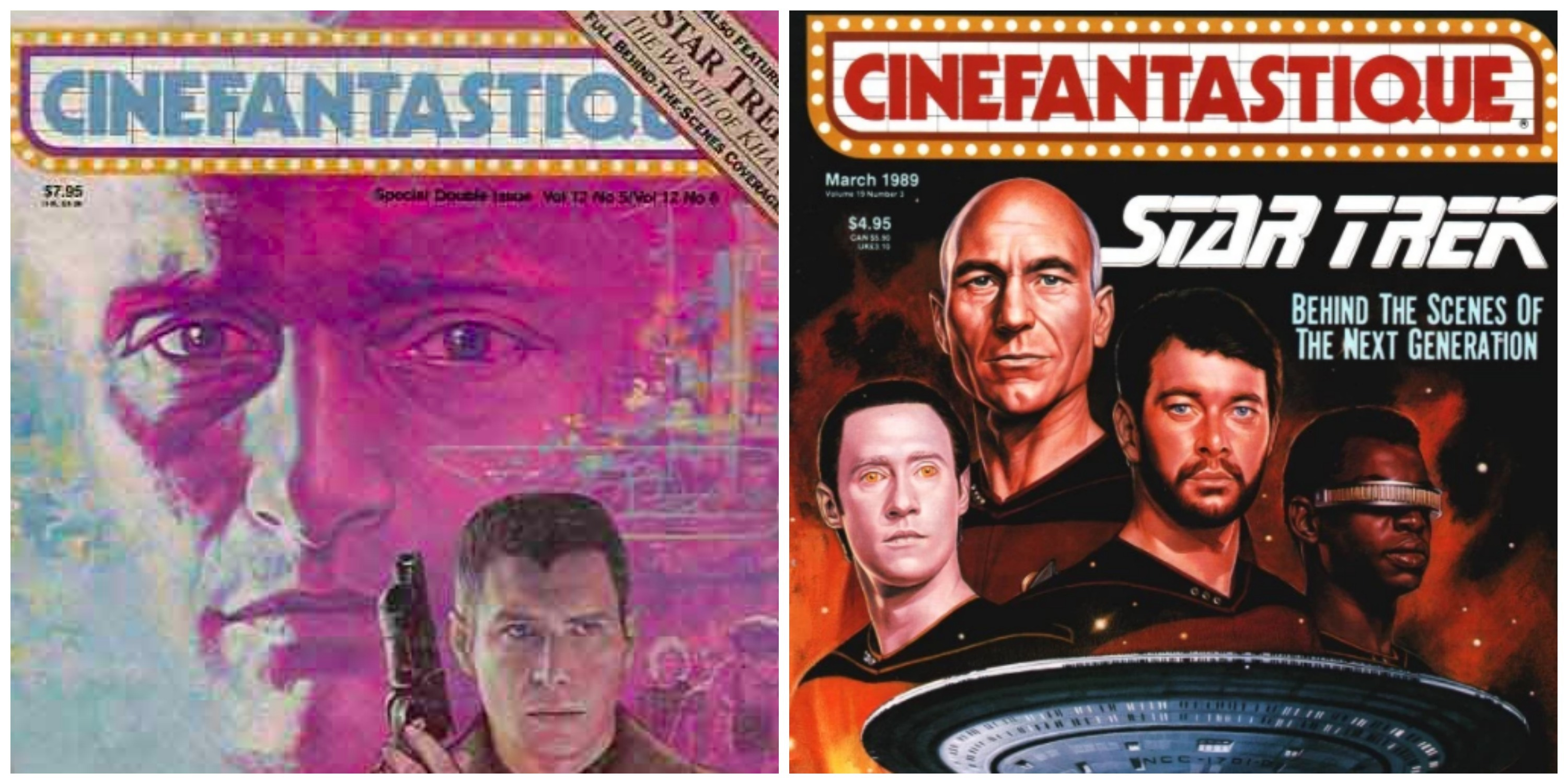 LEFT: Blade Runner issue of Cinefantastique in 1984. RIGHT: Mark Altman's investigative 'Star Trek: The Next Generation' piece in the March 1989 issue.