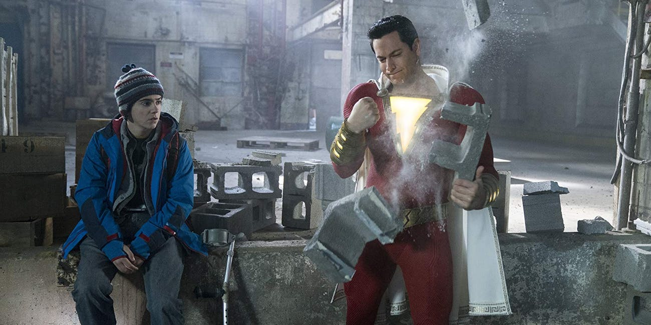 Jack Dylan Grazer and Zachary Levi in Warner Bros. 'Shazam!' (2019)