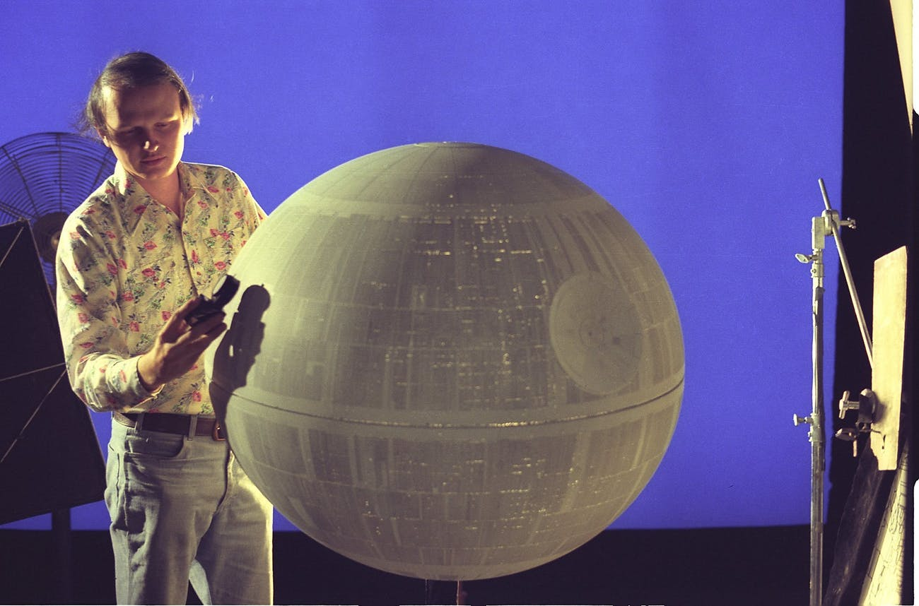 "ILM visual effects supervisor Dennis Muren with the miniature Death Star built for ""A New Hope."""