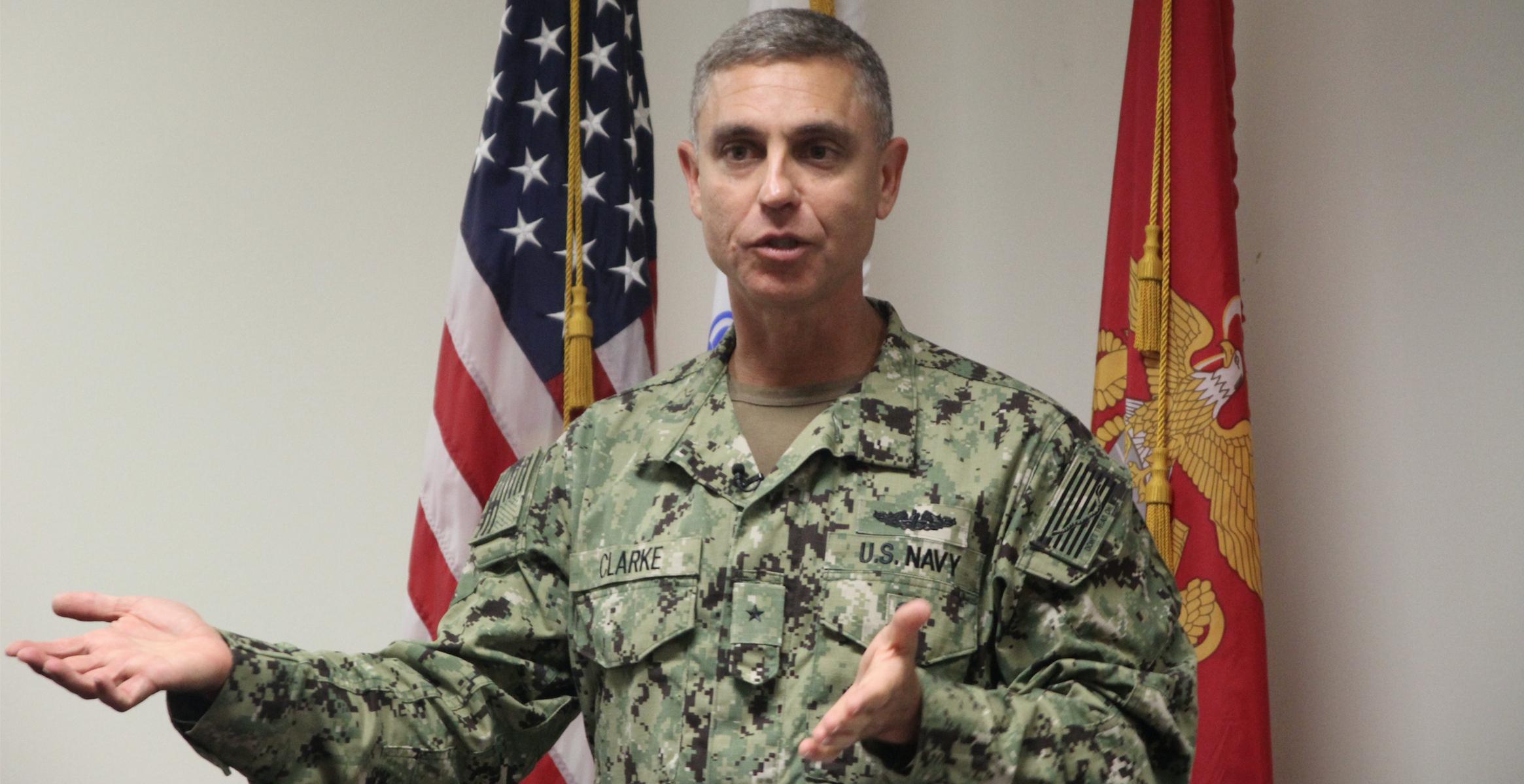 Admiral Peter J. Clarke at Guantanamo.