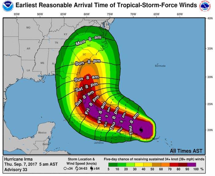 Hurricane Irma earliest arrival times as of 5:00am EST