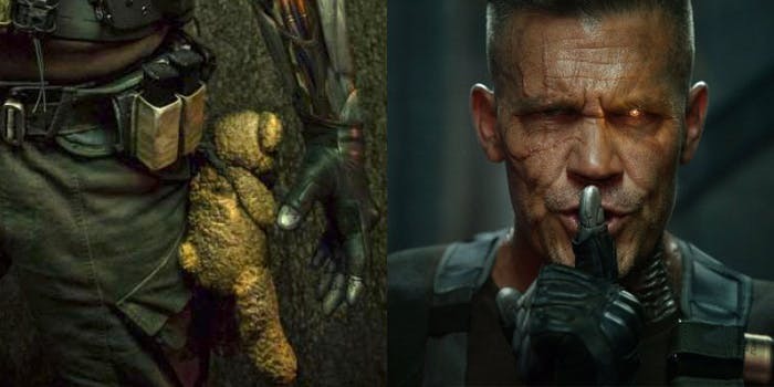 Why does Josh Brolin's badass Cable have a teddy bear with him?