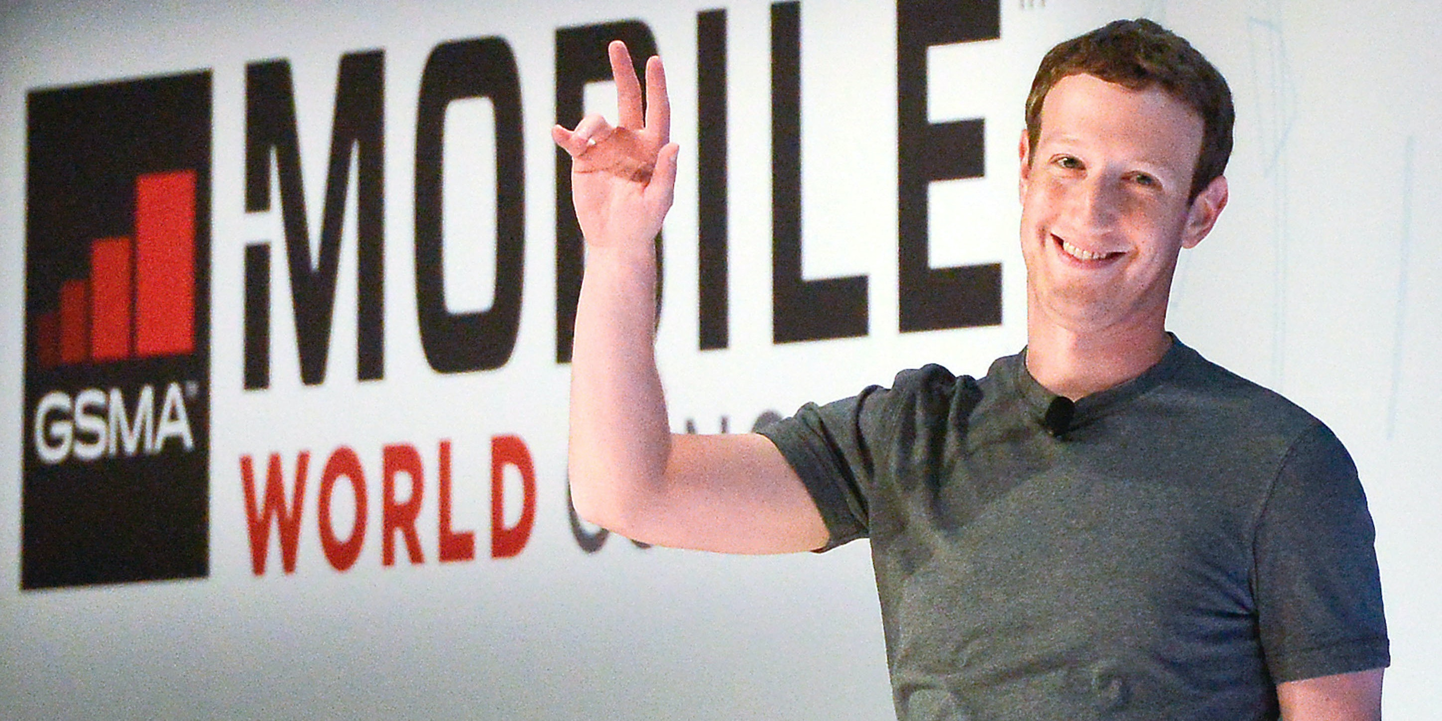 BARCELONA, SPAIN - FEBRUARY 22:  Founder and CEO of Facebook Mark Zuckerberg waves as he arrives for a keynote conference on the opening day of the World Mobile Congress at the Fira Gran Via Complex on February 22, 2016 in Barcelona, Spain. The annual Mobile World Congress hosts some of the world's largest communications companies, with many unveiling their latest phones and wearables gadgets.  (Photo by David Ramos/Getty Images)