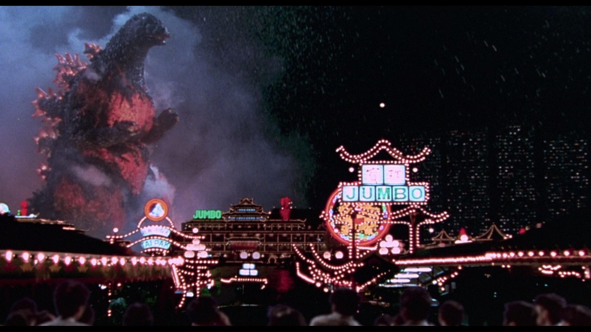 Burning Godzilla attacks Hong Kong