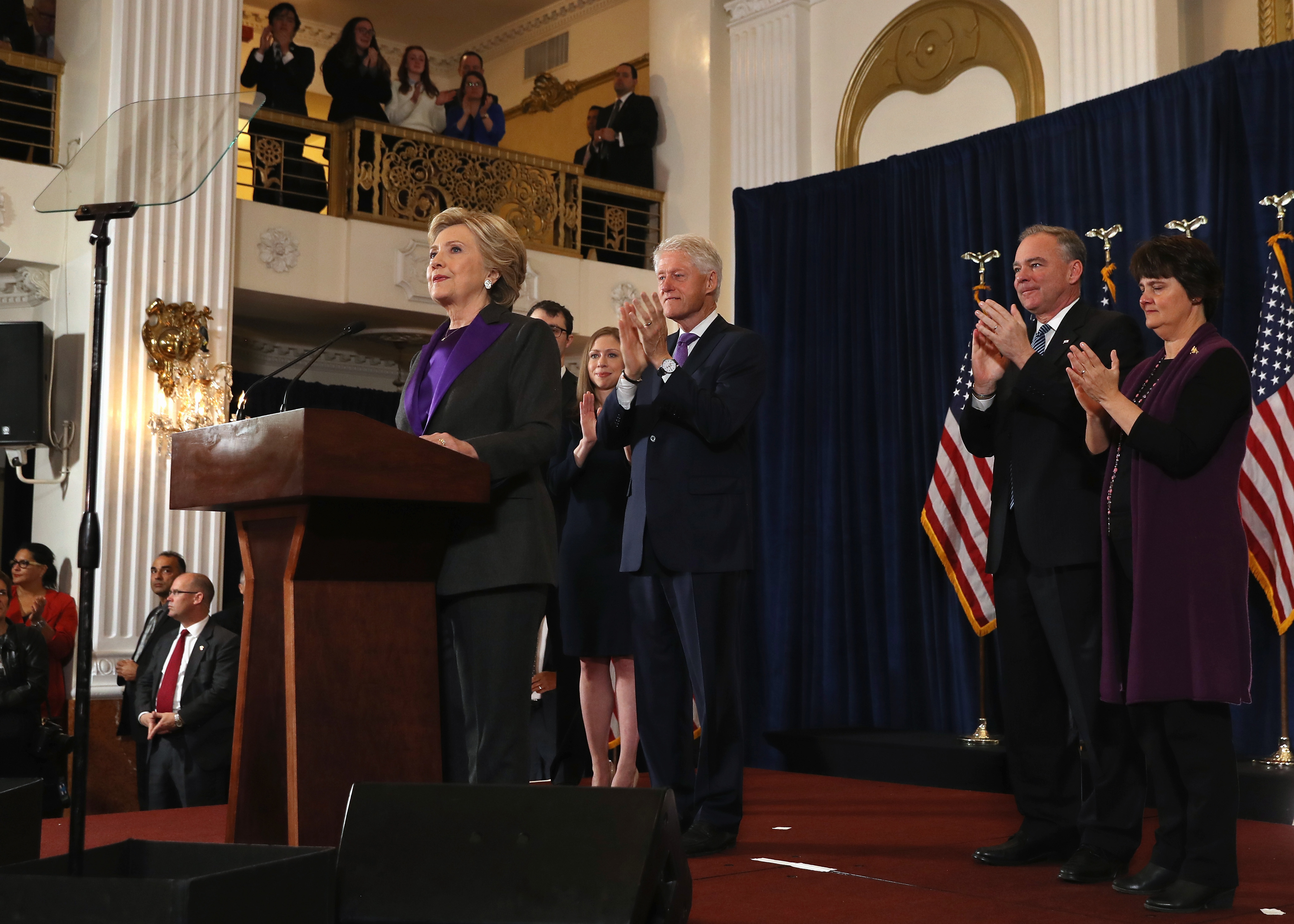 Former Secretary of State Hillary Clinton thanked Pansuit Nation indirectly, while wearing her iconic pantsuit on stage Wednesday.