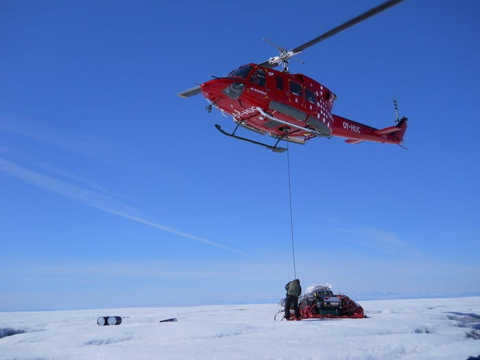 The drill is moved long distances by helicopter, and shorter distances by hand-carrying over the ice. Our goal is to keep the drilling equipment as small and light as possible to permit easy transport.