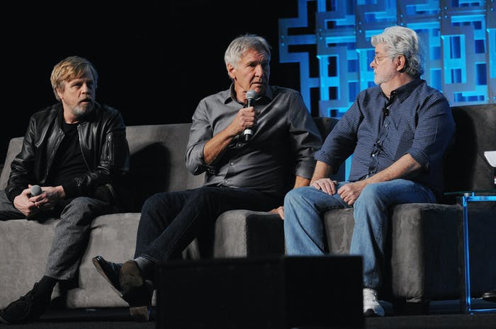 ORLANDO, FL - APRIL 13:  Mark Hamill, Harrison Ford and George Lucas attend the 40 Years of Star Wars panel during the 2017 Star Wars Celebrationat Orange County Convention Center on April 13, 2017 in Orlando, Florida.  (Photo by Gerardo Mora/Getty Images for Disney)