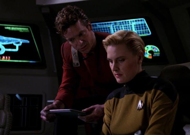 """Tasha Yar, getting ready to go back in time AND cross dimensions in 'Yesterday's Enterprise."""""""