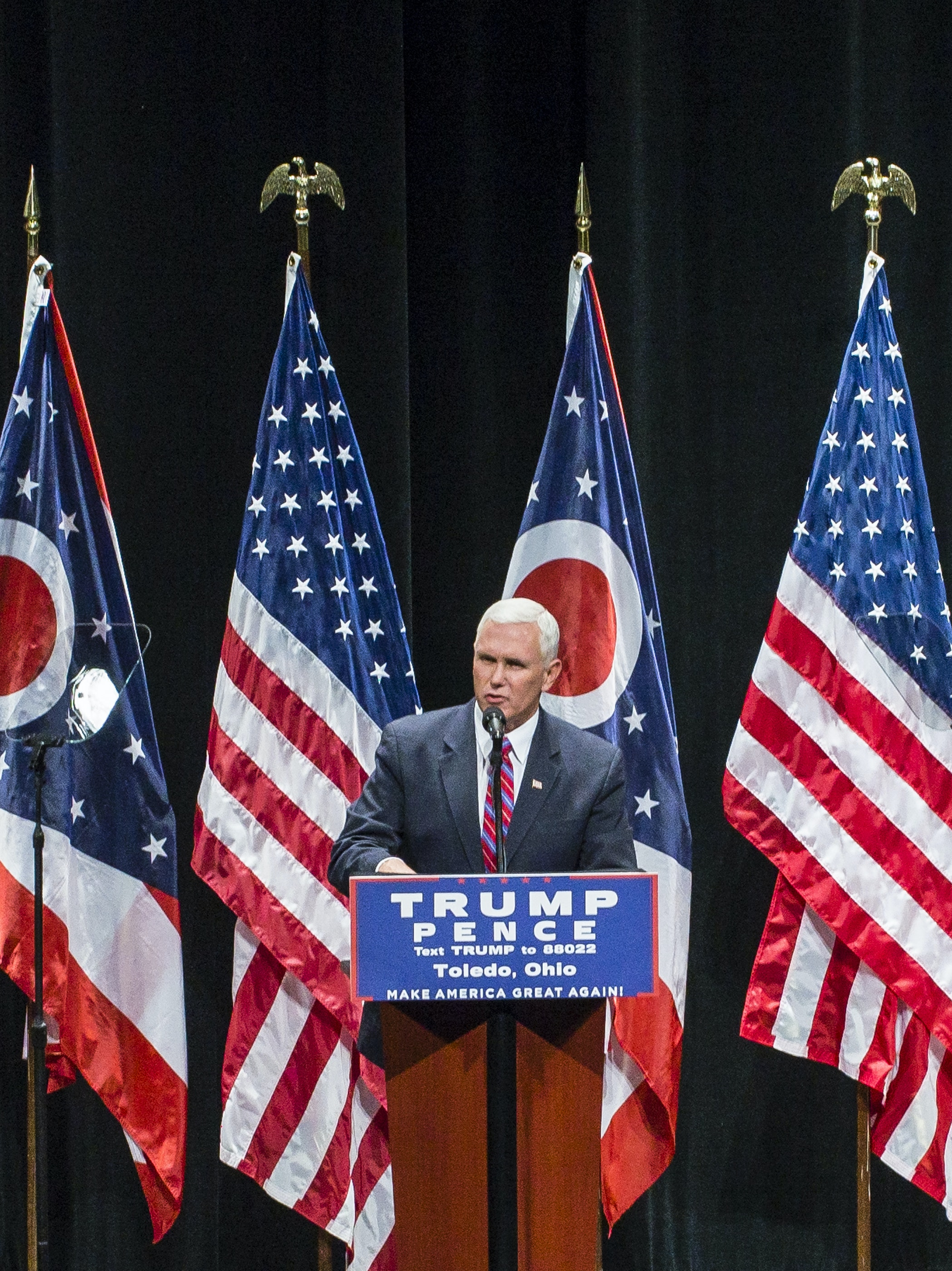 TOLEDO, OH - SEPTEMBER 21: Republican vice presidential nominee Gov. Mike Pence speaks to supporters at a rally for Republican presidential nominee Donald Trump at the Stranahan Theater on September 21, 2016 in Toledo, Ohio.  Recent Ohio polls show that Trump has a lead over Democratic presidential nominee Hillary Clinton. (Photo by Angelo Merendino/Getty Images)