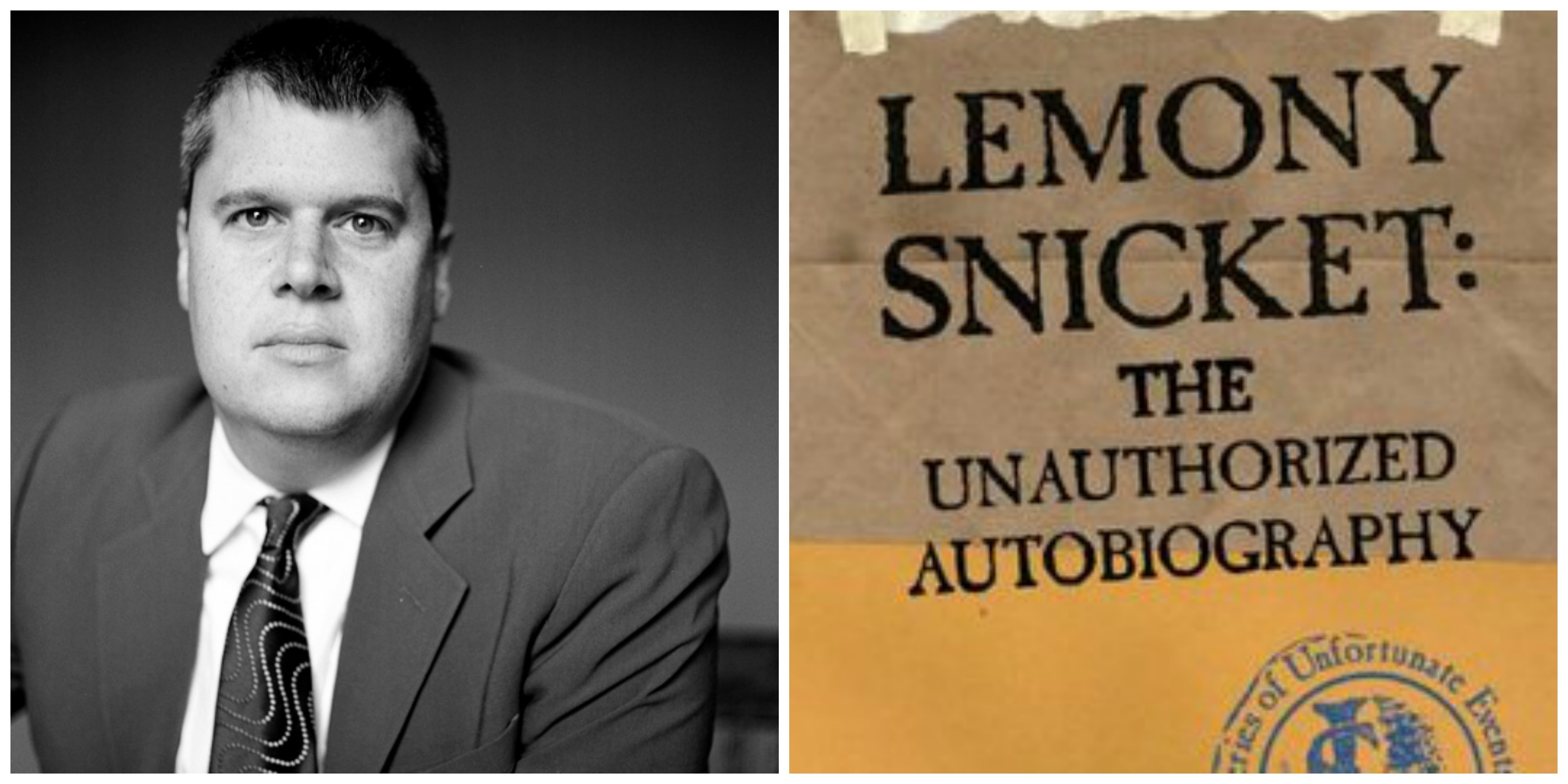 LEFT: Daniel Handler. RIGHT: A companion book to 'A Series of Unfortunate Events': Snicket's faux-autobiography.