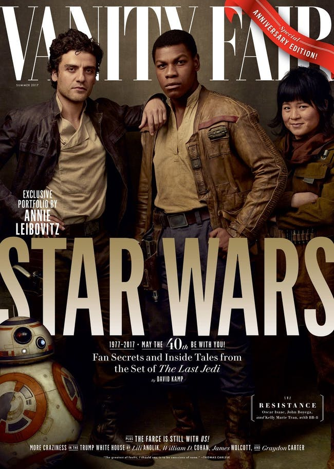 The Resistance includes Poe Dameron (Oscar Isaac), Finn (John Boyega), and Rose (Kelly Marie Tran) with BB-8 (Bill Hader).