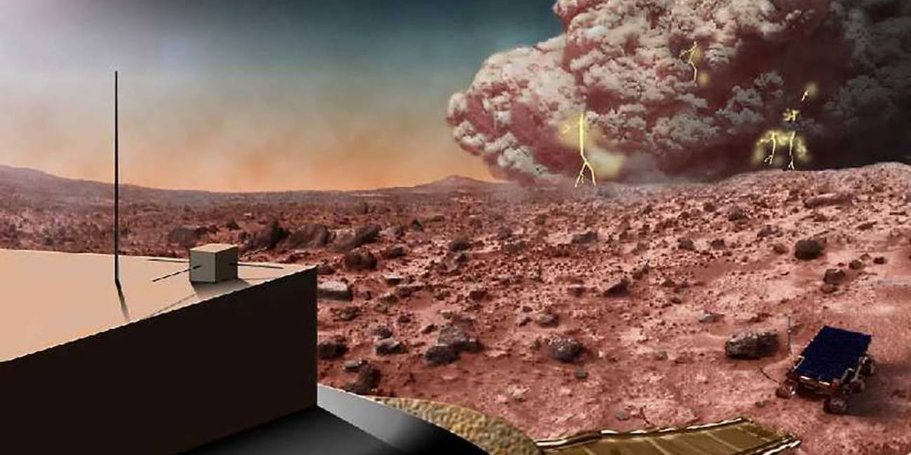 An artist's illustration of a dust storm on Mars.