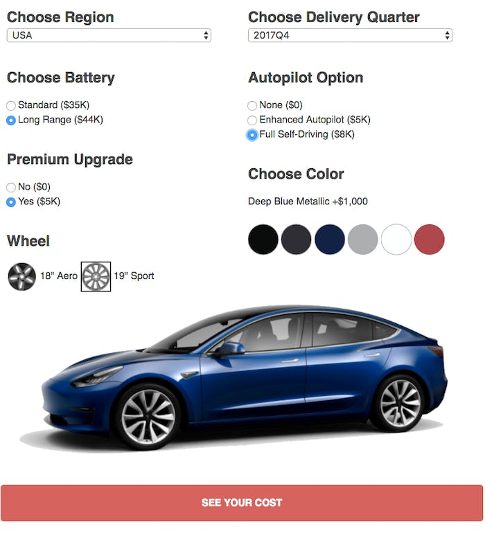 this online tool reveals the tesla model 3 39 s real price inverse. Black Bedroom Furniture Sets. Home Design Ideas