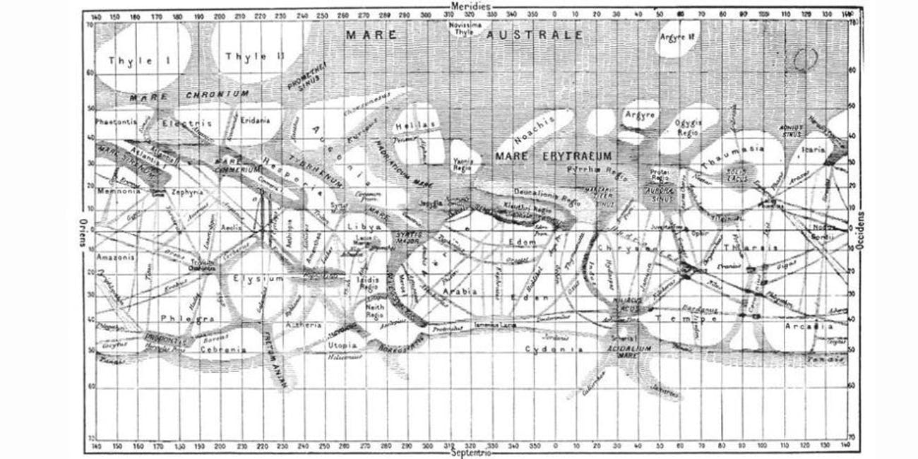 Map of the Martian canali as seen by Schiaparelli.