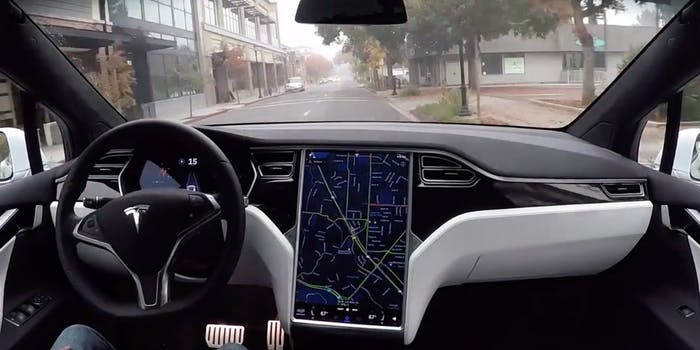 Tesla's autonomous car in action.