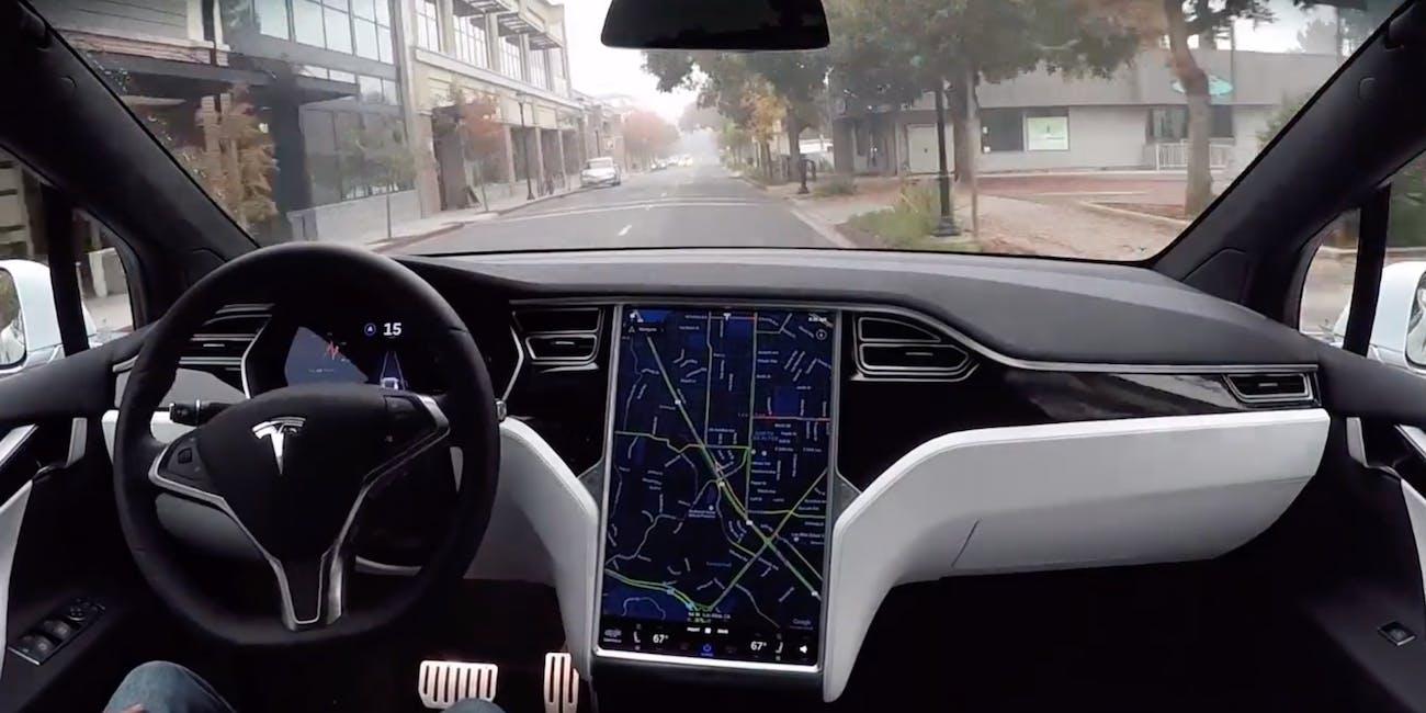 Tesla's autonomous car in action.