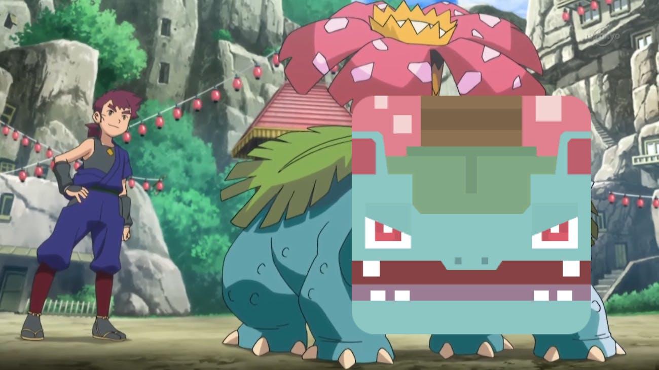 Nihei's Venusaur from the Pokémon anime with a 'Pokémon Quest' Venusaur face.