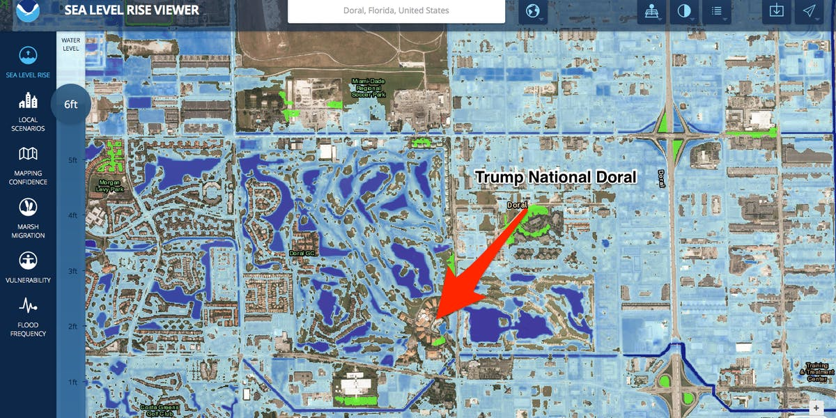 Many Trump Properties Could Be Underwater Due To Rising Sea Levels - Sea rising map