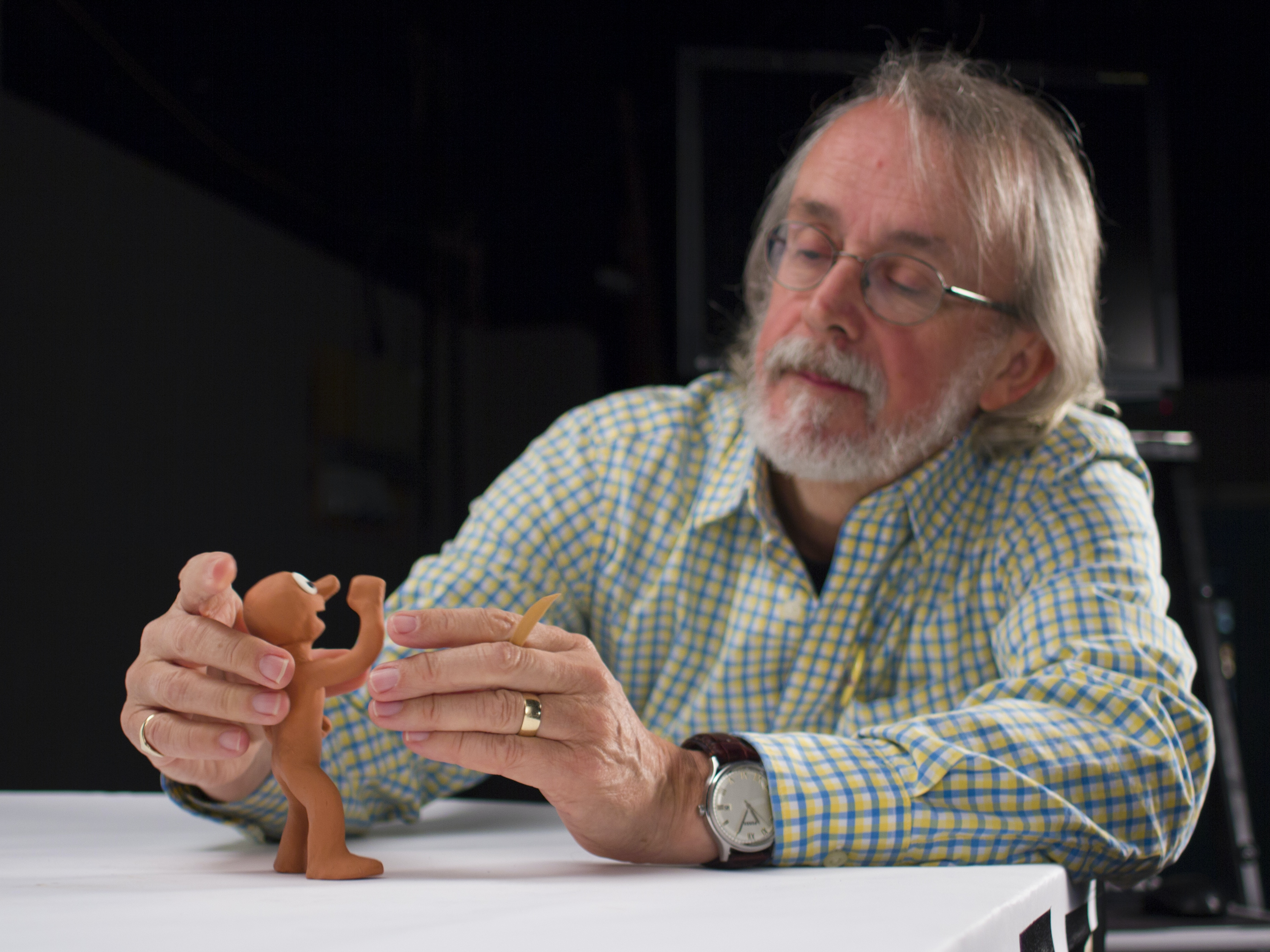 Aardman co-founder Peter Lord with his plasticine creation, Morph