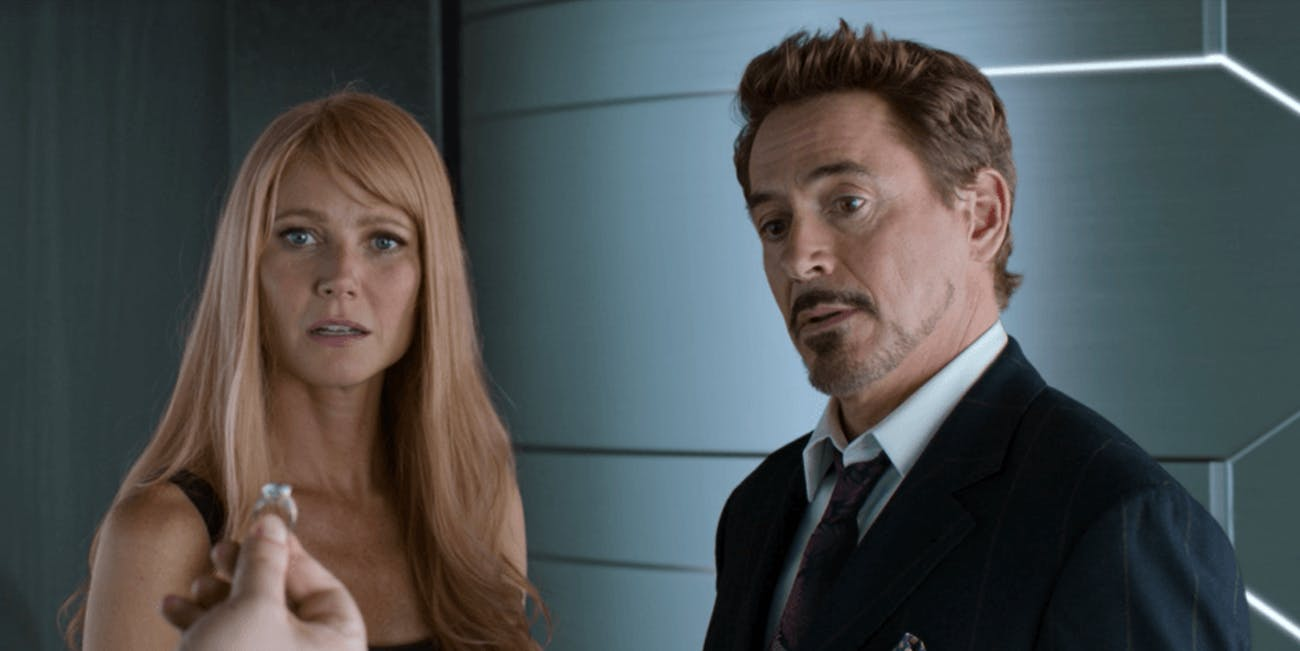 Pepper Potts and Tony Stark in 'Spider-Man: Homecoming'.