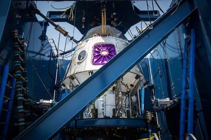A SpaceX pressure vessel undergoes a stress test.