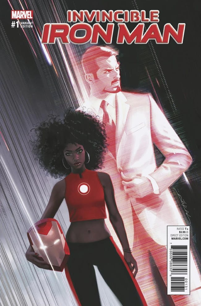 Tony Stark Riri Williams Ironheart Iron Man Invincible Cover