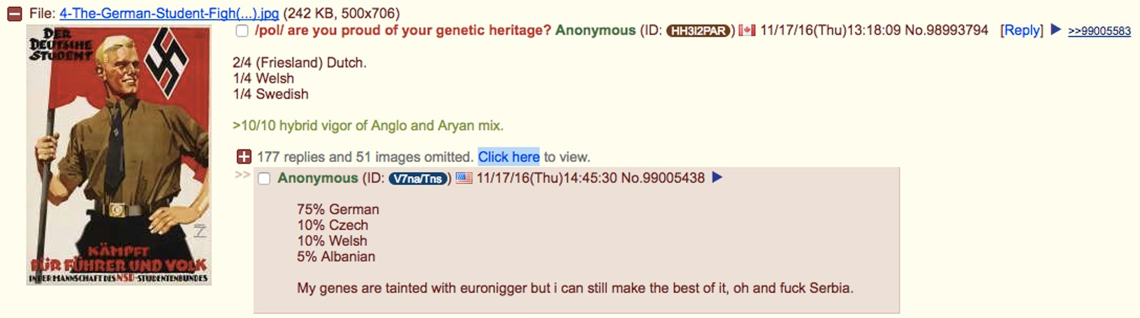 A post from 4chan's /pol/ board.
