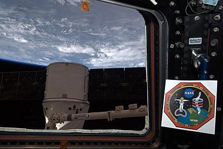 UC San Diego's research logo displayed on the International Space Station.