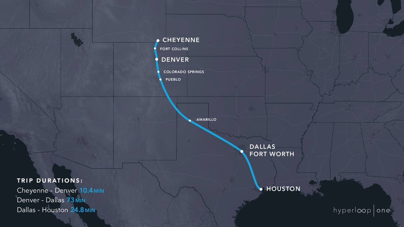 Cheyenne Houston Hyperloop Route