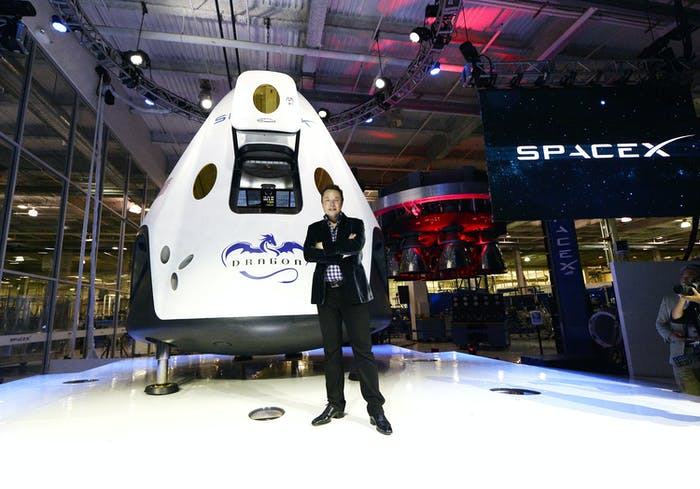 Elon Musk at the SpaceX headquarters