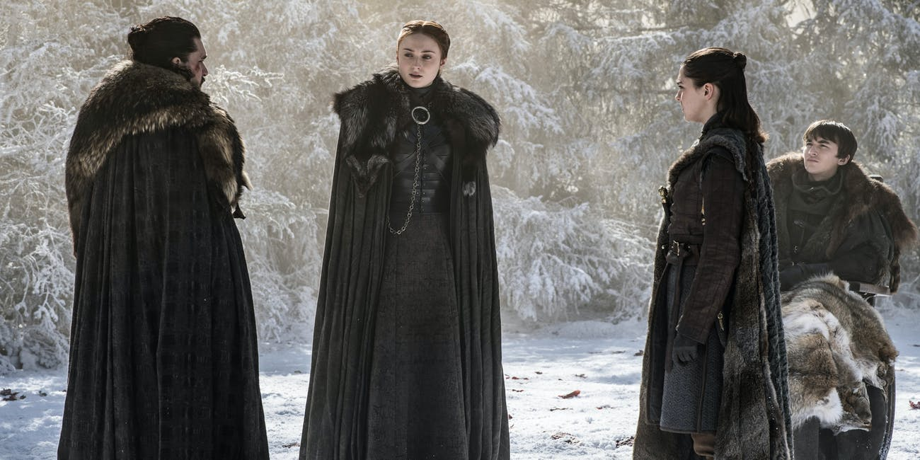 Kit Harington, Sophie Turner, Maisie Williams, and Isaac Hempstead Wright on 'Game of Thrones' Season 8