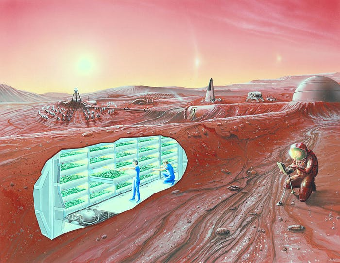More details An artist's conception of a human Mars base, with a cutaway revealing an interior horticultural area.