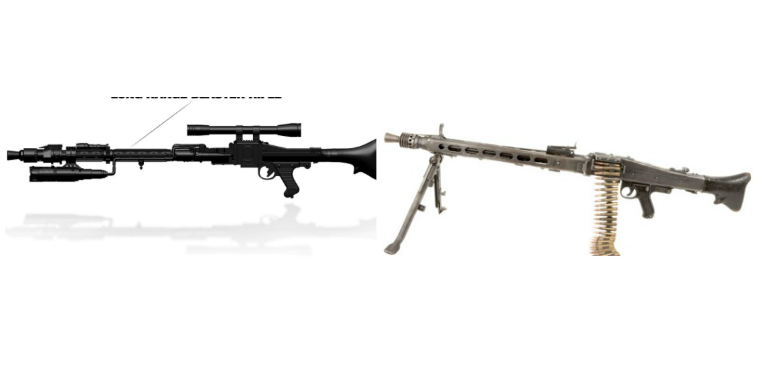 Left: Death Trooper Long-Range Blaster in 'Rogue One.' Right: MG-42 from 1942.