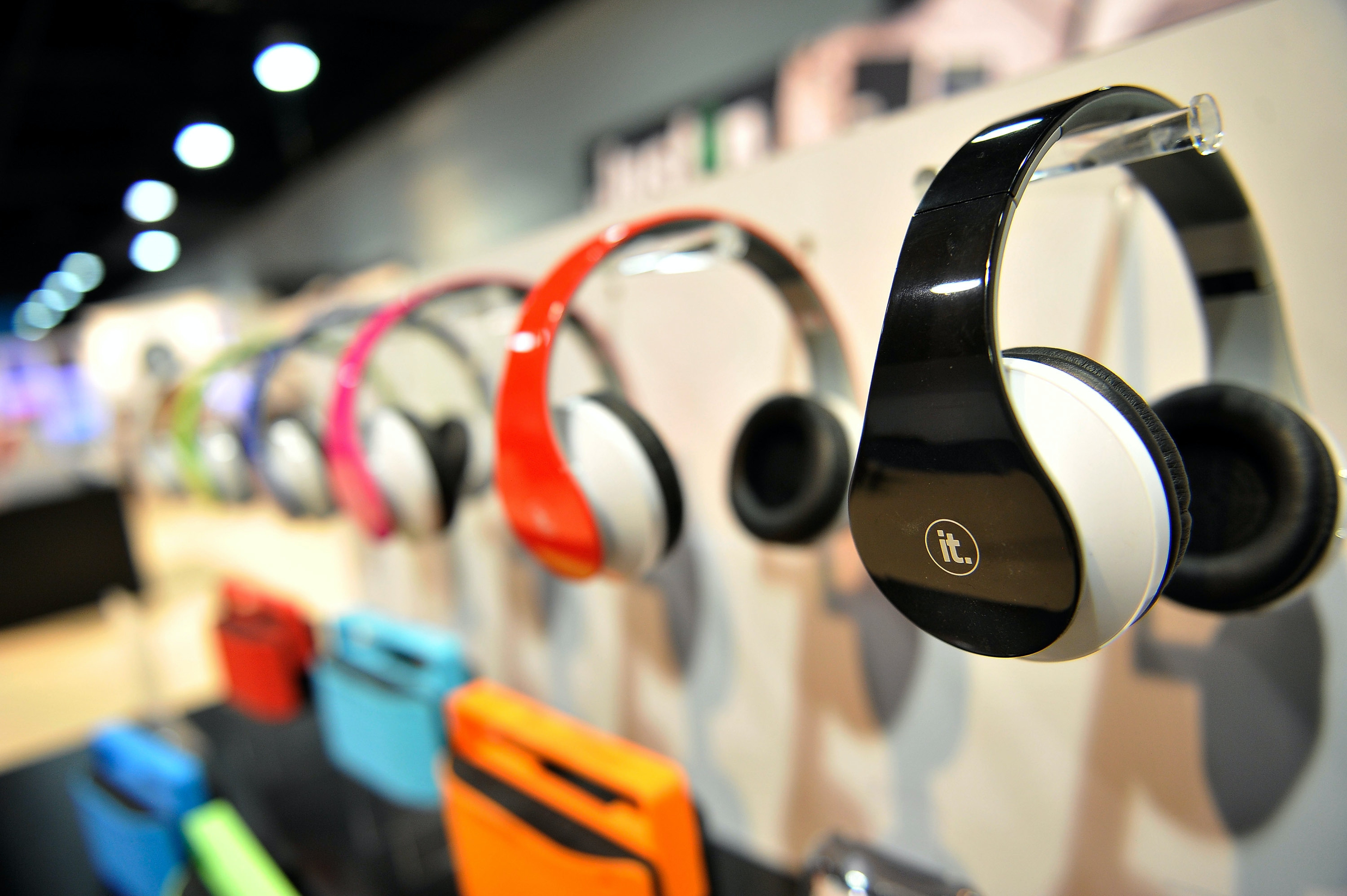 Innovative Technology's ITHWB-500 Bluetooth enabled headphones are displayed at the 2015 International CES at the Las Vegas Convention Center on January 6, 2015 in Las Vegas, Nevada.