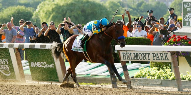American Pharoah & jockey Victor Espinoza win the Belmont Stakes and the first Triple Crown since 1978 at Belmont Park (New York) for Trainer Bob Baffert and Owner Zayat Stables