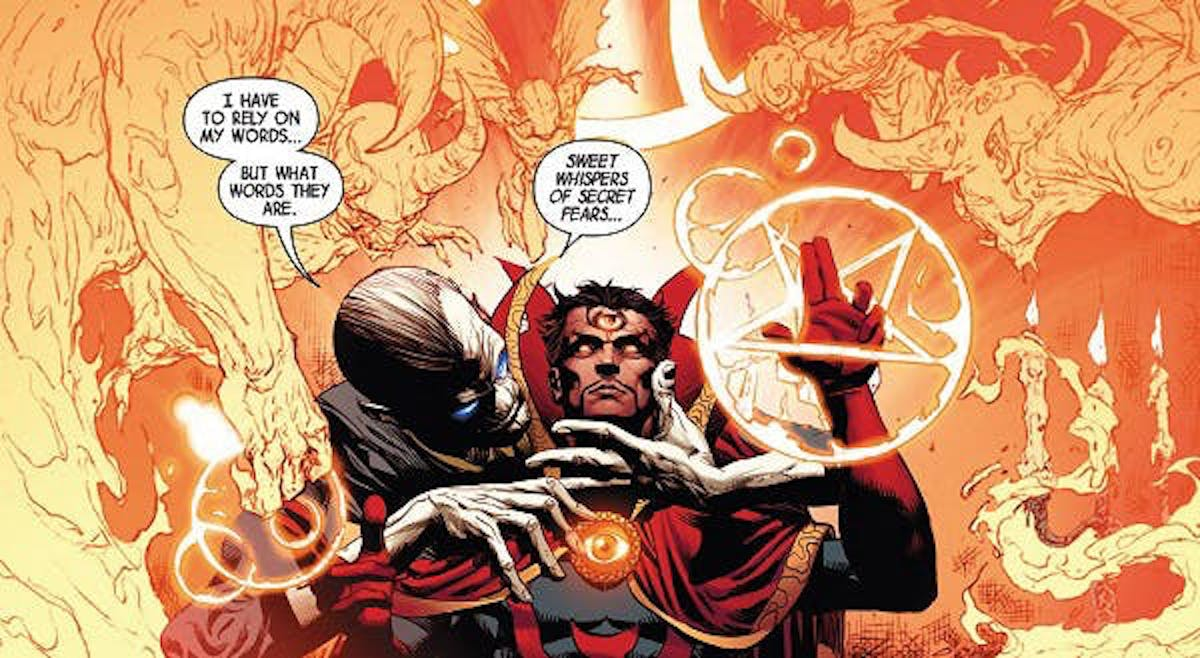 Ebony Maw manipulates Doctor Strange in the comics.