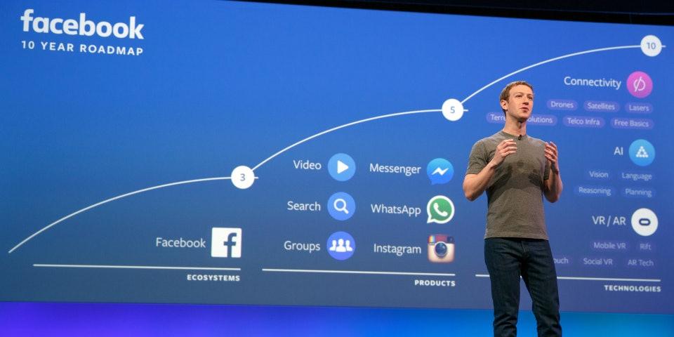 Mark Zuckerberg onstage at F8 2016.