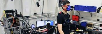 exoskeleton treadmill man ankle brace robot metabolism research mask