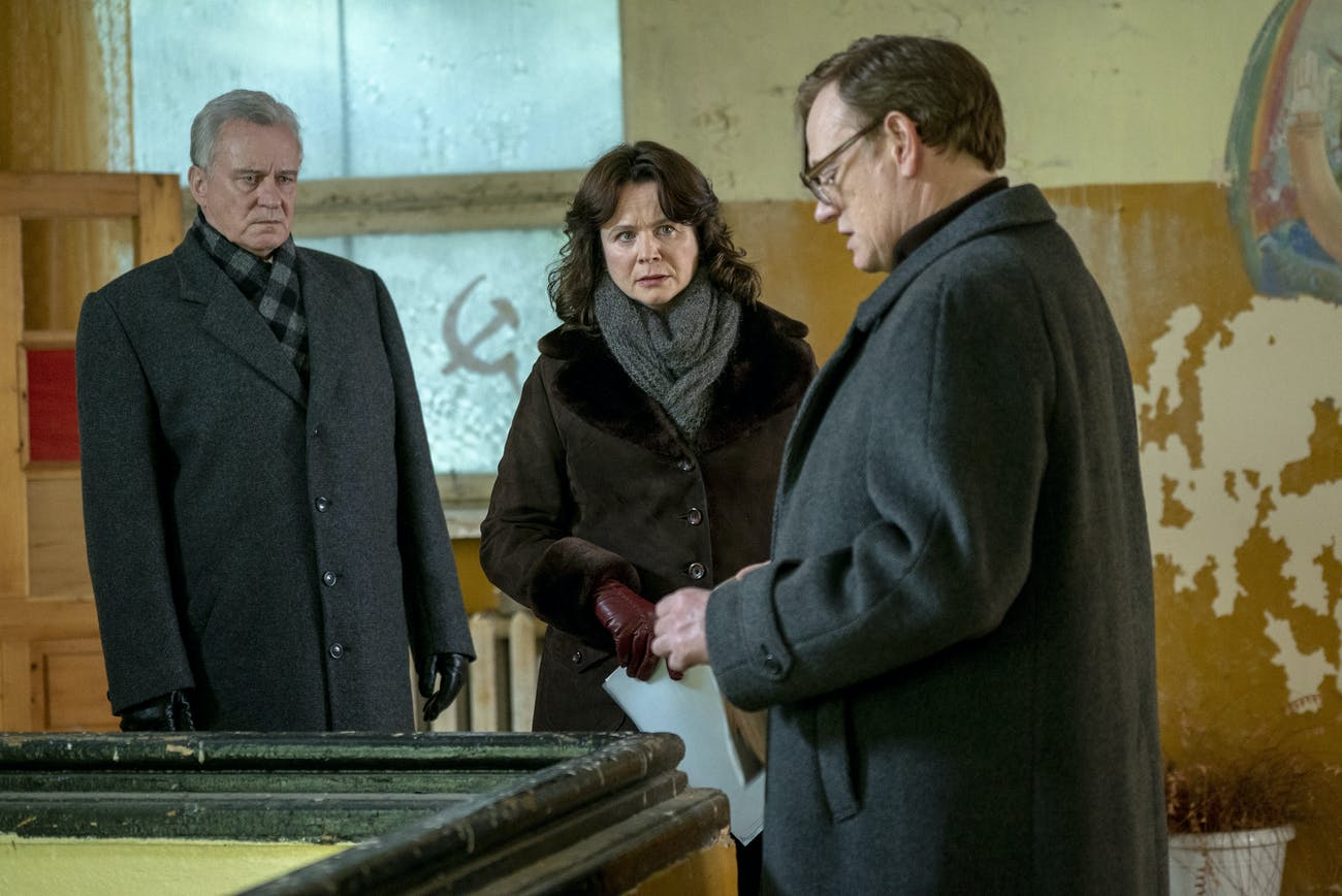 On the far right is Jared Harris, who plays Valery Legasov.