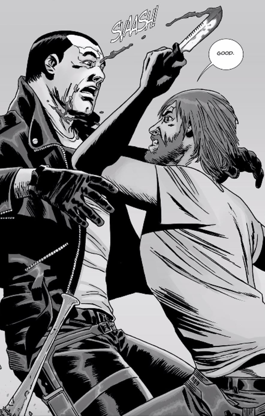 Rick slashes Negan's throat in 'The Walking Dead' Issue 21 from Image Comics