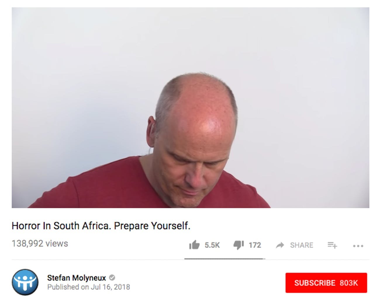 Stefan Molyneux as he appears in a Youtube video on his channel.
